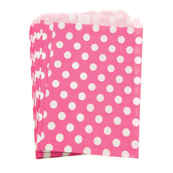 Large Dots Paper Treat Bags, 7-inch, 25-pack, Hot Pink