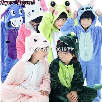 Winter Flannel Animal Kids Unicorn Pajamas Pikachu Totoro Eeyore Pig Tiger Cat Giraffe Onesuit Child Cosplay Costume Kiguruma