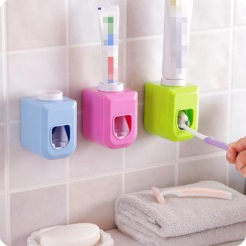Automatic Toothpaste Dispenser Tooth Brush Toothpaste Holder Tooth Paste Tube Squeezer Dispenser Free Squeeze Out Bathroom Sets