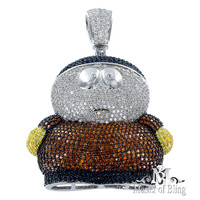 Lab Diamond South Park Cartman White Iced Pendant