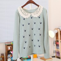Kitty Sweater With Doily Collar