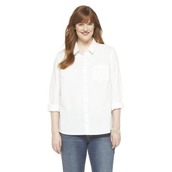 Women's Plus Size Long Sleeve Shirt Fresh White-Merona®