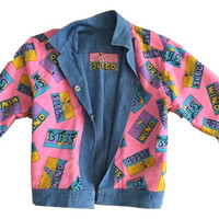 Rare kind Vintage Jean Denim Jacket Women Cartoon Patch Pattern Blue Jean Jacket irreversible