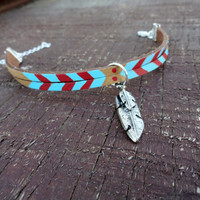 Tribal Brown Suede Bracelet with Turquoise and Red Arrows and Silver Feather