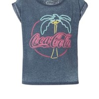 Navy Coca-Cola Palm Tree Burnout T-Shirt