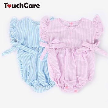 Cute Bow-Knot Casual Cotton Baby Girl Rompers Infant Stripe Soft Kids Clothes Pullover Toddler Jumpsuit