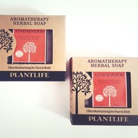 PLANTLIFE Set of 2 Sandalwood Aromatherapy Herbal Bar Soaps 4 oz ea Paraben Free