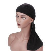 New Luxury Men's Velvet Durags Turban Bandana Headband Men Durag Biker Headwear Hat Hair Accessories High Quality X7-M2