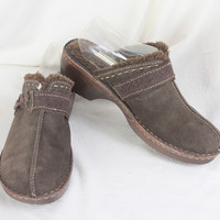 Bjorndal Clogs 10 size Brown Leather Shearling lined Womens Slip on Shoes