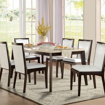 Home Elegance 5465-66 7 pc tijeras collection dark finish wood and faux marble top dining table set with upholstered seats