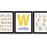 Monogram Art, Alphabet and Numbers, Kids Wall Art, Nursery Art, Chevron Print, Baby Name Art, Custom Colors, Initial Art, Printable Wall Art