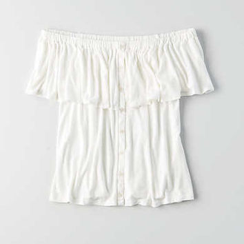 AEO Button Off-the-Shoulder Top, Natural White
