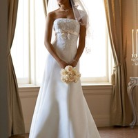 Satin Trumpet Gown with Beaded Metallic Lace - David's Bridal - mobile