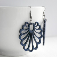Large Navy Blue Wood Cut-Out Fan Earrings - Big Earrings - Long Lightweight Earrings - Modern Jewelry - Ready to Ship
