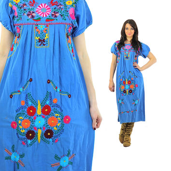 Mexican embroidered Dress Vintage 1970s Blue floral Festival Oaxacan Puff sleeve Peasant Ethnic Turquoise medium