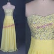 2014 long yellow chiffon prom dresses with sequins,beaded sweetheart gowns for holiday party,chic cheap homecoming dress hot.