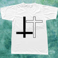 Black Inverted Cross TShirts White Inverted Cross Shirts Design Symbol TShirt White Tee Shirts Unisex TShirts Women TShirts Men TShirts