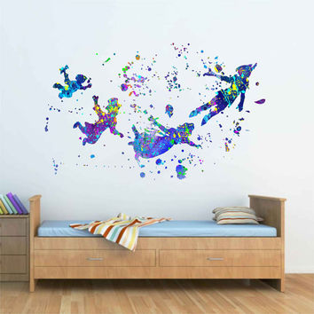 kcik1736 Full Color Wall decal poster space Watercolor paint splashes Peter pen characters fairy tale children's room