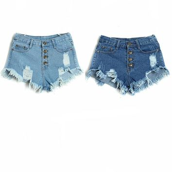 Women Hot Jeans Button Front High Waist Ripped Denim Short Shorts Destructed Destroyed