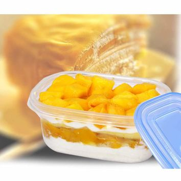 DoreenBeads Disposable Plastic Bowl Transparent With Lid Yogur Sushi Cake Ice Cream Box Storage 280ml Home Outdoor 10PCs/Pack