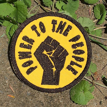 "DONATION PIECE, ""Power to the People"", Resistane Fist handmade iron on patch, ACLU, yellow, resist, Bernie, free shipping, upcycled, recycle"