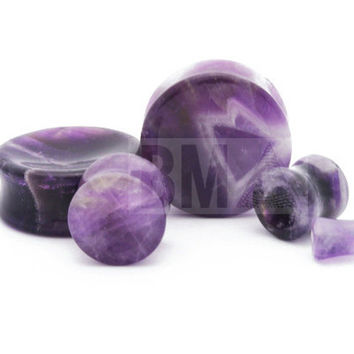 Concave Amethyst Stone Plugs BMA (6mm-27mm)