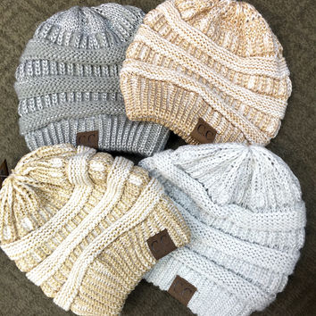 Two-Tone Metallic CC Beanies *New*