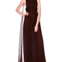 Valentino Sleeveless Silk Chiffon Plisse Cape-Back Gown, Granato