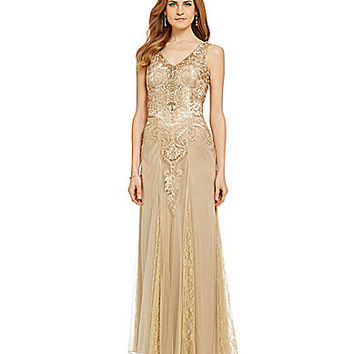 Sue Wong Embroidered Beaded Gown - Taupe
