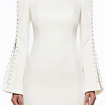 Flare To Be Different Long Bell Sleeve Button Trim Crew Neck Bodycon Bandage Mini Dress - 3 Colors Available