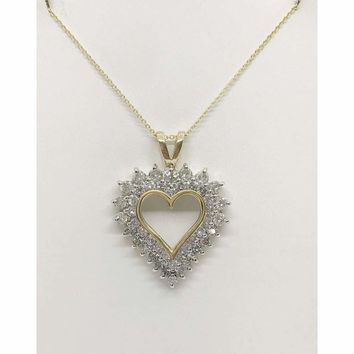 Luxinelle 1.82 Carat Double Halo Heart Shaped Diamond Pendant - 14K Yellow Gold
