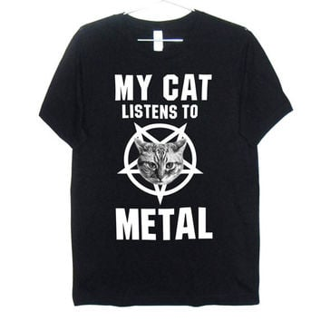 My Cat Listens to Metal T-Shirt UNISEX Sizes S, M, L, XL, 2XL