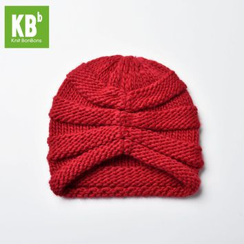 2017 KBB Spring     Winter Comfy Scarlet Red Ridged Pattern Design Knit Yarn Delicate Winter Hat Beanie for Women Men