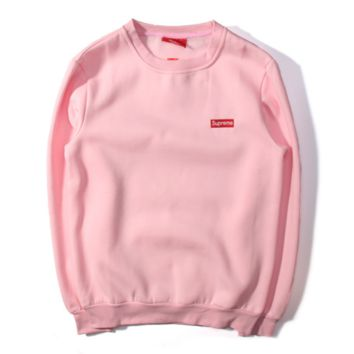 Supreme tide embroidery red standard cotton men and women sweater plus velvet loose wild couple sweater
