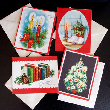 1950s Christmas Cards- Set of 4- Bright Lithographs By Hawthorne House- UNUSED- Colorful Candles Christmas Tree Books & Dog Retro Cool