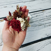 Cedar rose pine cone rustic burgundy gold wedding Rustic BROOCH CORSAGE bridesmaids Sola Flower limonium winter fall autumn wedding custom