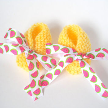 Crossover Knitted Baby Booties with Trendy Watermelon Print Bows, Yellow Soft Sole Summer Booties with Watermelon Ribbon , Baby Girl Gift