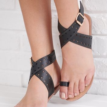 Downtown Girl Wrap Ankle Sandals (Black)