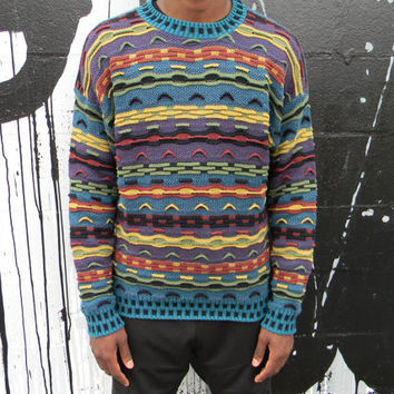 Vintage Cosby Sweater - 90s Multi-Colored Coogi Lookalike Pullover Sweater in Teal, Purple, Mustard Yellow, Black and Olive Green, Mens M