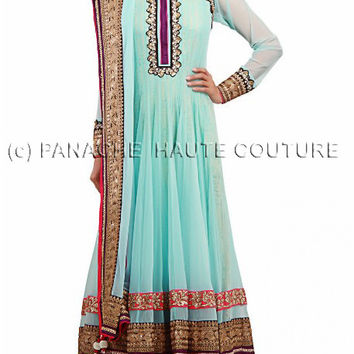 Sky blue color anarkali suit online