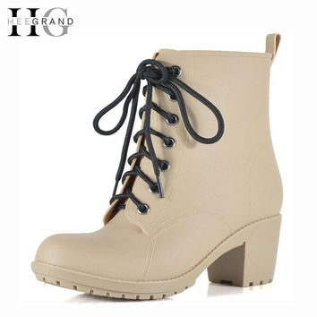HEE GRAND Lace-Up Rain Boots Woman Fashion Med Heels New Shoes Woman High Quality Casual Hot Sale Women Boots Size 36-40 XWX4924