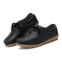Women Casual Flat Shoes Non Slip Pure Color Loafers