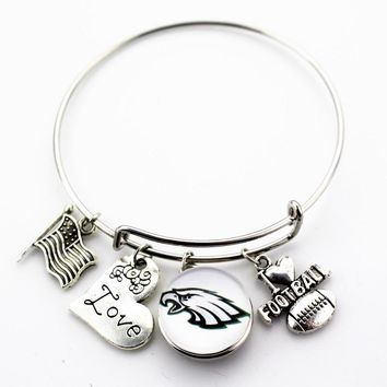10pcs Philadelphia Eagles Football football sports ginger snap bracelet jewelry expandable adjustable wire hook bracelet&bangles