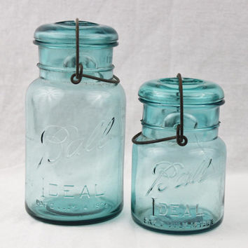 Antique Pair of Ball Ideal Blue Mason Jars with Glass Lids and wire Bails