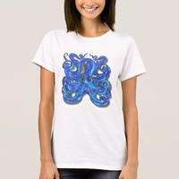 Psychedelic Colorful Blue Octopus With Brown Eyes T-Shirt