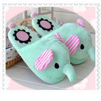New hot Green Women Girl Cute Warm Soft elephant Housebound slippers Shoes Lady