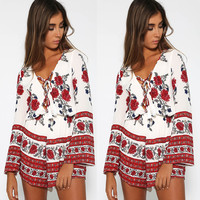Autumn Women's Fashion Floral Print Long Sleeve V-neck Jumpsuit [8098140231]
