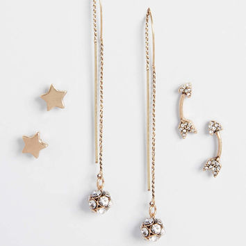 goldtone earring trio with threader earrings | maurices