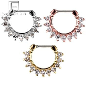 Fashion Septum Clicker CZ Daith Nose Ring Body Piercing Hanger Clip On  popular accessories 1Pc 16G (1.2mm)