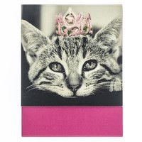 Crown Kitty Cat Pocket Notepad with Glitter Crown